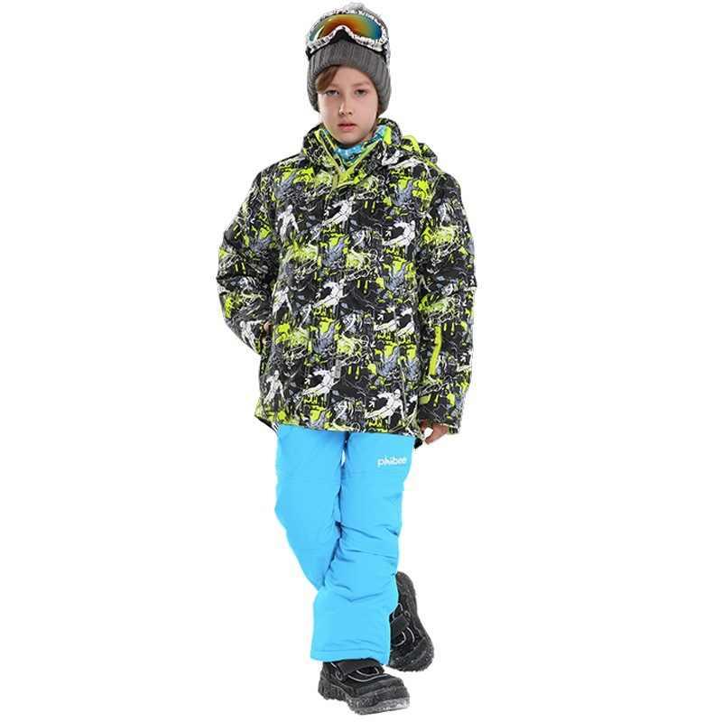 冬の少年スキースーツフード付き屋外スノーボードジャケット保温子供スキーセット Roupa デスキー Terno Esqui 暖かいと防風