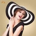 Mujeres sol del verano blanco negro azul kentucky sun de la paja Floppy plegable playa sombrero de ala ancha de rayas sun sombreros viseras para mujeres