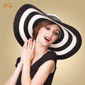 Women summer sun white black blue kentucky Straw Floppy collapsible beach hat wide brimmed striped hats sun visors for women