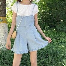 2017 милые джинсовые шорты женские Японский Новые Летние корейский дизайн шикарный Ремень джинсовый комбинезон элегантный дизайн широкие брюки шорты для девочек