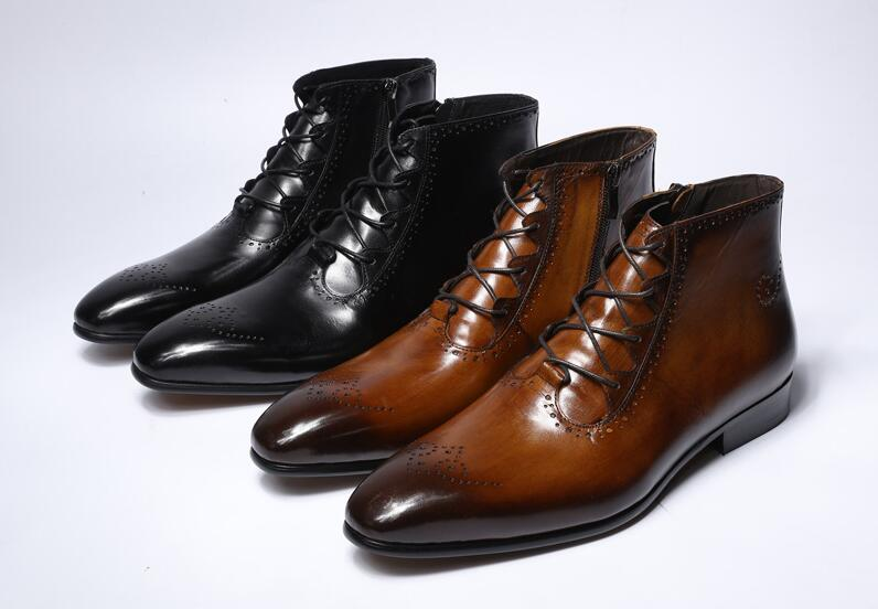 New Fashion Design Genuine Leather Men Ankle Boots High Top Zip Lace Up Dress Shoes Black Brown Man Basic BootsNew Fashion Design Genuine Leather Men Ankle Boots High Top Zip Lace Up Dress Shoes Black Brown Man Basic Boots