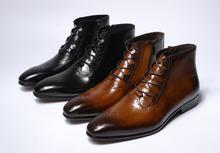 Novo Design de Moda Couro Genuíno Dos Homens Tornozelo Botas High Top Zip Lace Up Vestido Sapatos Homem Marrom Preto Botas Básicas