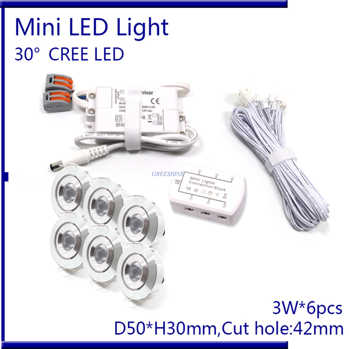 6pcs/set With Driver,Cable,Connector CREE 3W Mini Led Cabinet downlight Led Recessed Cabinet Spot light White,Warm White led spot light 3w with cree chip 30mm cutout recessed cabinet lighting ac100 240v input and remote control downlight 6pcs set