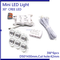 6pcs/set With Driver Cable Connector CREE 3W Mini Led Cabinet downlight Led Recessed Cabinet Spot light White Warm White