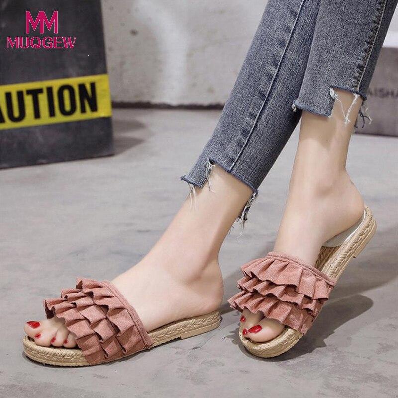 M17 Women Slippers Shoes Fashion Solid Color Round Toe Low Heel Sandals Slipper lastest women summer sweet sandals slipper fashion solid color suede flower bow hasp flat heel square toe sandals schuhe damen