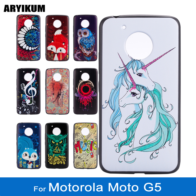 ARYIKUM Soft Silicone Cartoon Unicorn Case For Motorola Moto G5 xt1676 xt1672 Mobile Cover For Lenovo Moto G5 G 5 MotoG5 Capinha