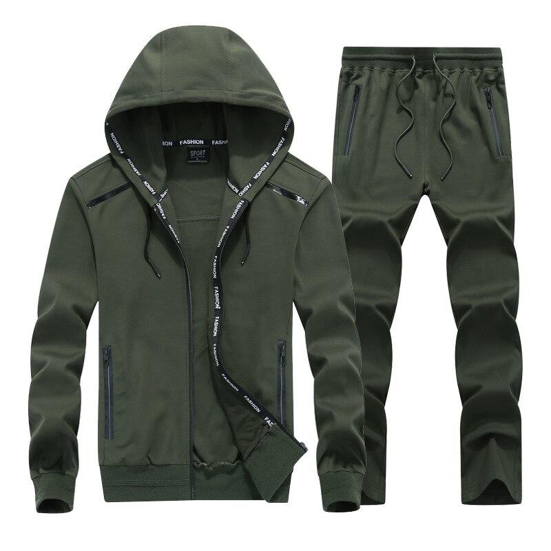 Men's Autumn Winter Hooded Windproof Running Sport Suit Large Size 8XL9XL Fitness Jogging Sports Suit 150KG Can Wear Sportswear