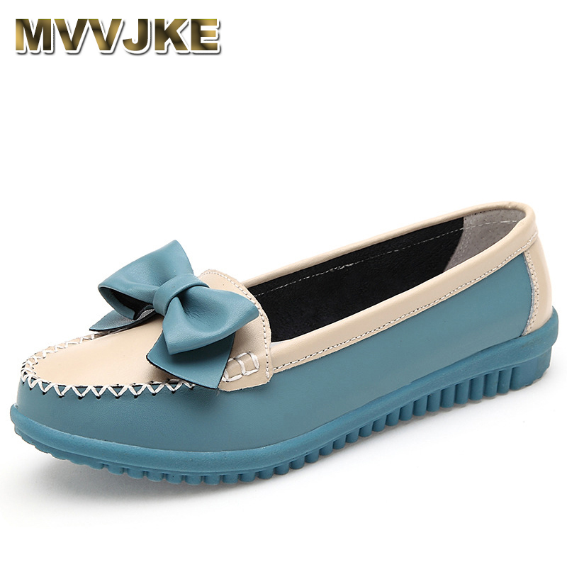 MVVJKE  New Women Flat New Fashion Genuine Leather Women Shoes Woman Round Toe Slip On Bowtie Sweet Style Leisure Flats Shoes spring summer women leather flat shoes 2017 sweet bowtie flats women shoes pointed toe slip on ladies shoes low heel shoes pink