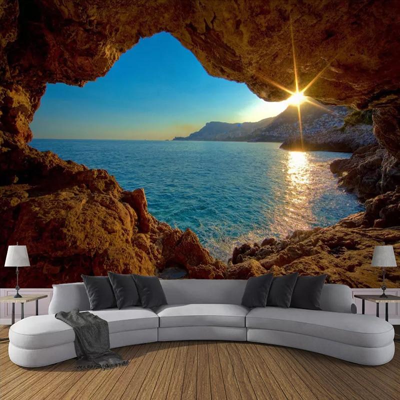 Papel tapiz de foto personalizado 3D cueva amanecer playa naturaleza paisaje Grandes murales sala de estar sofá papel pintado decorativo de fondo para dormitorio Pegatina autoadhesiva 3D para pared, papel pintado impermeable de ladrillo para habitación de niños, papel pintado con patrón, Mural, adhesivo de espuma de bricolaje para sala de estar y dormitorio