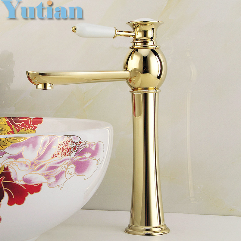 ФОТО Free Shipping New arrival Bathroom gold Basin Faucet Gold finish Brass Mixer Tap with ceramic torneiras para banheiro YT-5057