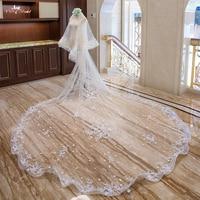 LZP321 реальная картинка свадебного свадебные аксессуары; Фата эластичный край цветы Шампанское свадебная вуаль 3 метра Соборная вуаль