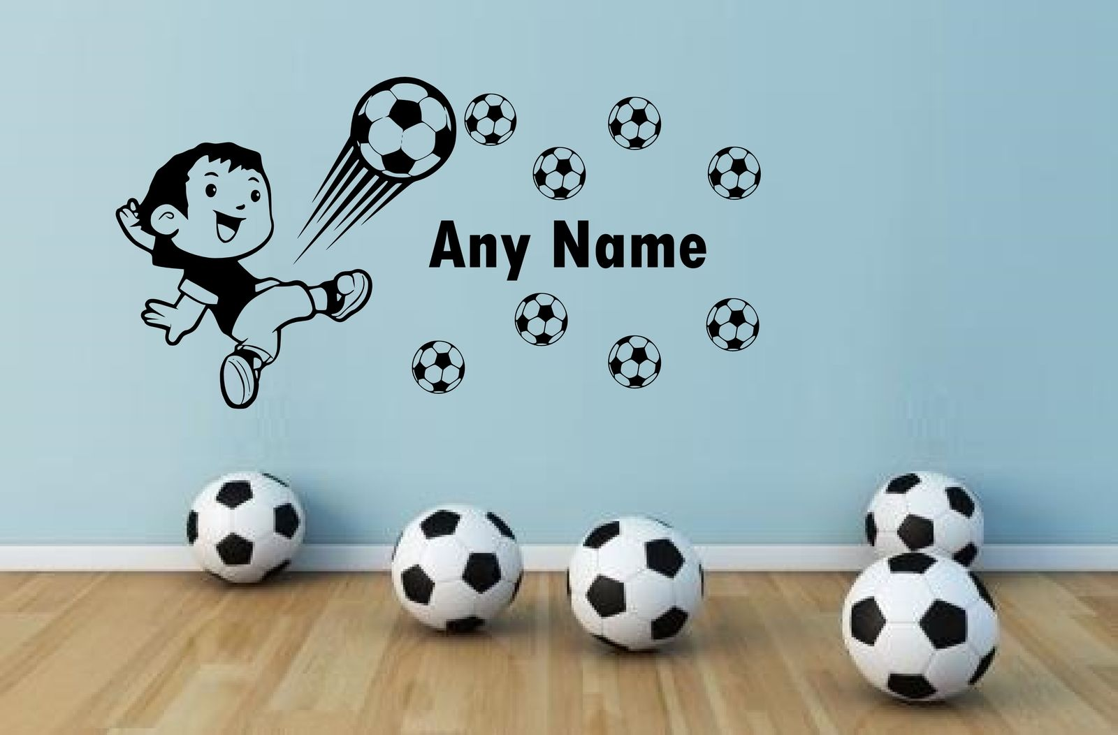 boy gift Personalised Football Vinyl Wall Sticker Any Name Wall Art Decal Kids Bedroom decor removable
