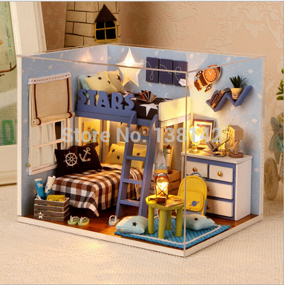 h005 new 112 doll house miniatura wooden dollhouse miniature bedroom include furniturelightdust cover free shipping - Shipping Bedroom Furniture