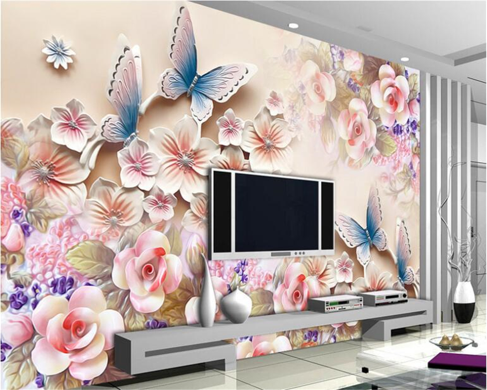 beibehang Fashion high decorative painting wall paper three dimensional flowers relief mural TV background 3d wallpaper tapety in Wallpapers from Home Improvement