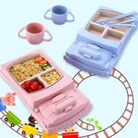 Cartoon Baby Dishes Bamboo Fiber Sub grid Plates Creative Train Children Tableware For Infant Kids Feeding Dinnerware Sets 8