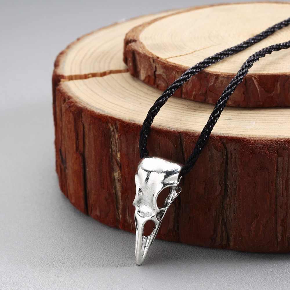 QIMING 手作り彫刻カラスヘッドネックレス女性アンティークシルバーオーディン北欧ヴィンテージバイキングネックレスファッションメンズジュエリー
