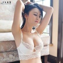 1d911d412 Lacy shaonvmeiwu semi-transparente sutiã sexy fina segundo próximo cueca  mama peito pequeno reunir sutiã