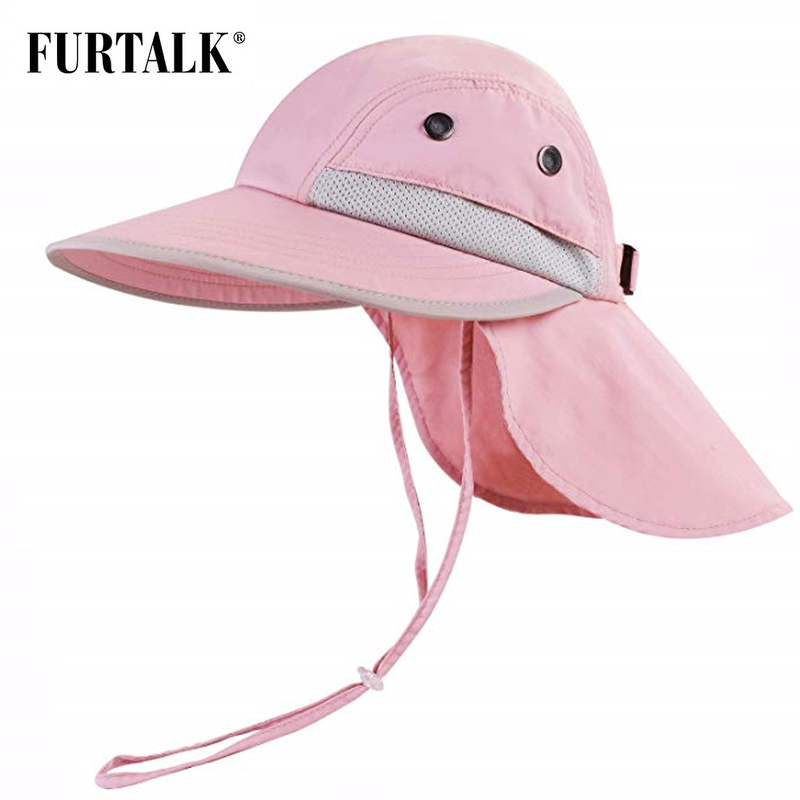 FURTALK Kids Summer Hat Girls Boys Sun Hat With Neck Flap UV Protection Safari Hat Baby Child Summer Travel Cap 2-12 Years Old