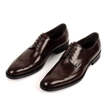 New Arrivals Men Business Dress Shoes Genuine Leather Retro Gentleman Shoes Formal Carved Bullock Shoes Men JS-A0005 стоимость