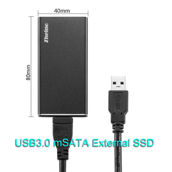 Zheino P3 USB 3.0 Portable External 128GB 256GB SSD Aluminum Case mSATA Solid State Drive for laptop notebook PC