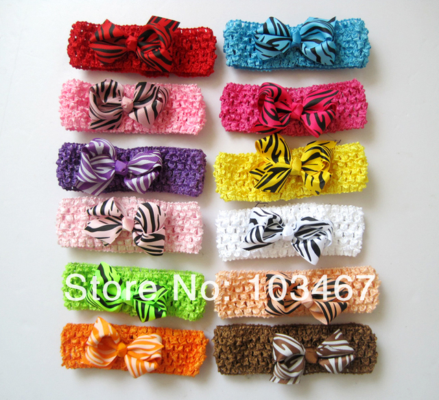 "12pcs/lot, 3.3""-3.5"" baby ribbon zebra bows with crochet headbands hairbands,mix colors"