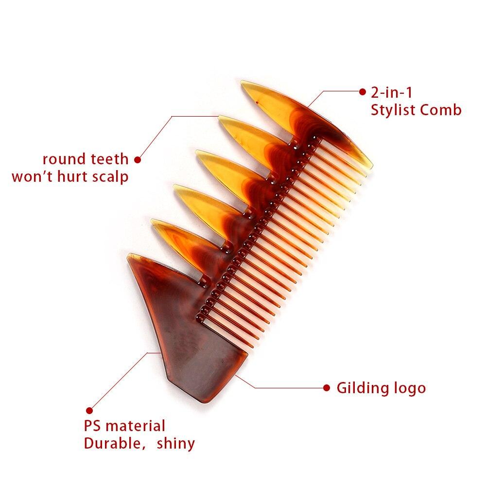Купить с кэшбэком 4pc Double Side Tooth Combs Fish Bone Shape Hair Comb Barber Anti-static Hair Dyeing Cutting Coloring Brush Man Hairstyling Tool