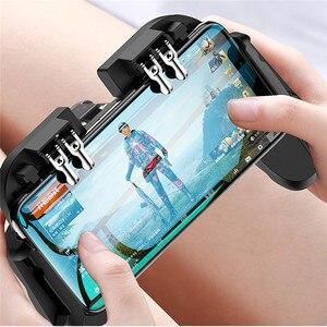 Image 4 - PUBG mobilny kontroler Gamepad z chłodnica wentylator dla iOS smartfonów z systemem Android 6 palców pracy Joystick chłodnicy baterii