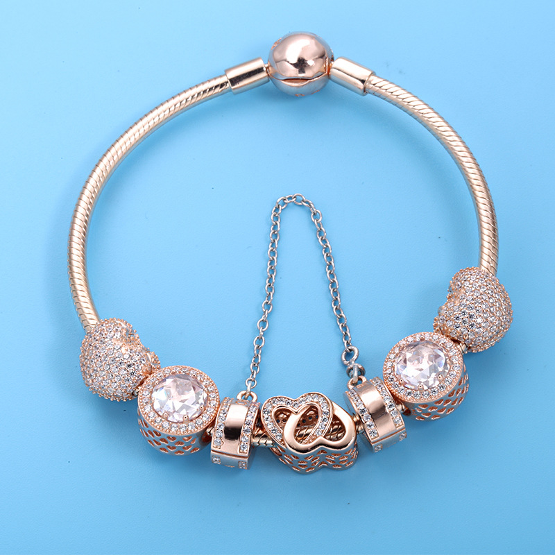 9b7e7c1297c4c 2019 Hot Sale Fits for Pandora Charm Bracelet DIY Ladies Gift Party Jewelry  925 Sterling Silver Classic Rose Gold Beads Bracelet