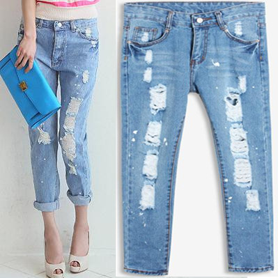 Large Size Jeans Female Hole Trousers Casual Pockets Tassel Button Hollow Out Softener Loose Harem Pants Womens Sexy Jeans