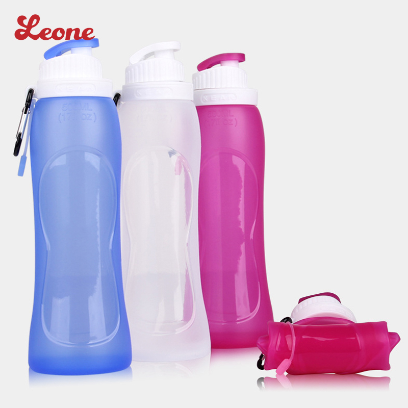 500 ML Creativo Plegable de Silicona Portátil de Viaje Botella de Agua Drinkware