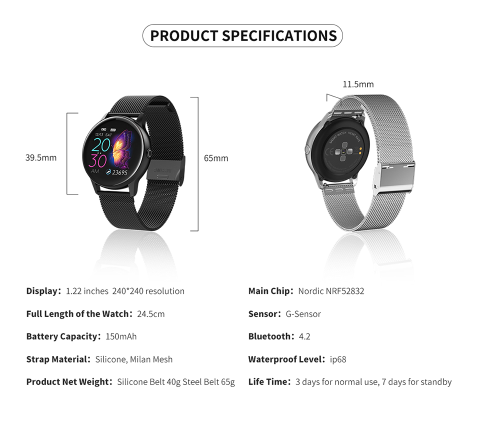 Women IP68 Waterproof Smart Watch for iPhone xiaomi LG with Bluetooth and Heart Rate Monitor Fitness Tracker 22