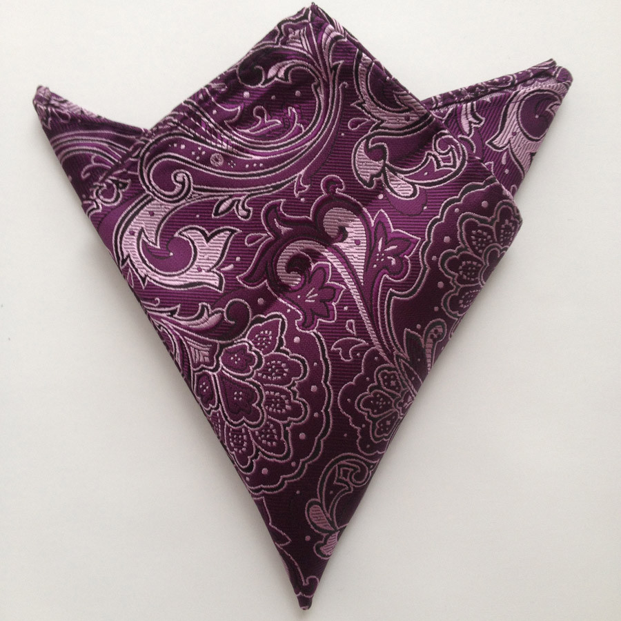 Роскошный галстук 8 см галстук с фиолетовым плетение, цветок модный мужской Карманный платок квадратной формы