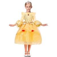 3-10Y Primavera Inverno Crianças Meninas Belle Vestido para a Menina Da Princesa Vestidos Crianças Festa de Aniversário do Dia Das Bruxas Natal Traje Cosplay