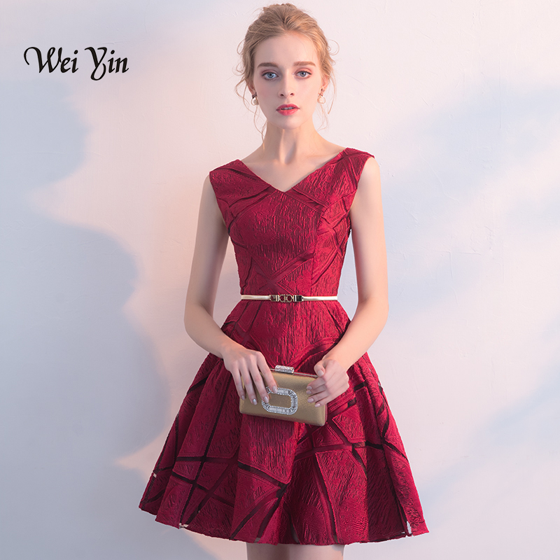 weiyin Short   Cocktail     Dresses   2018 Sexy V Neck Lace Above Knee Women Prom   Dress   A Line Mini Formal Party   Dresses   WY819