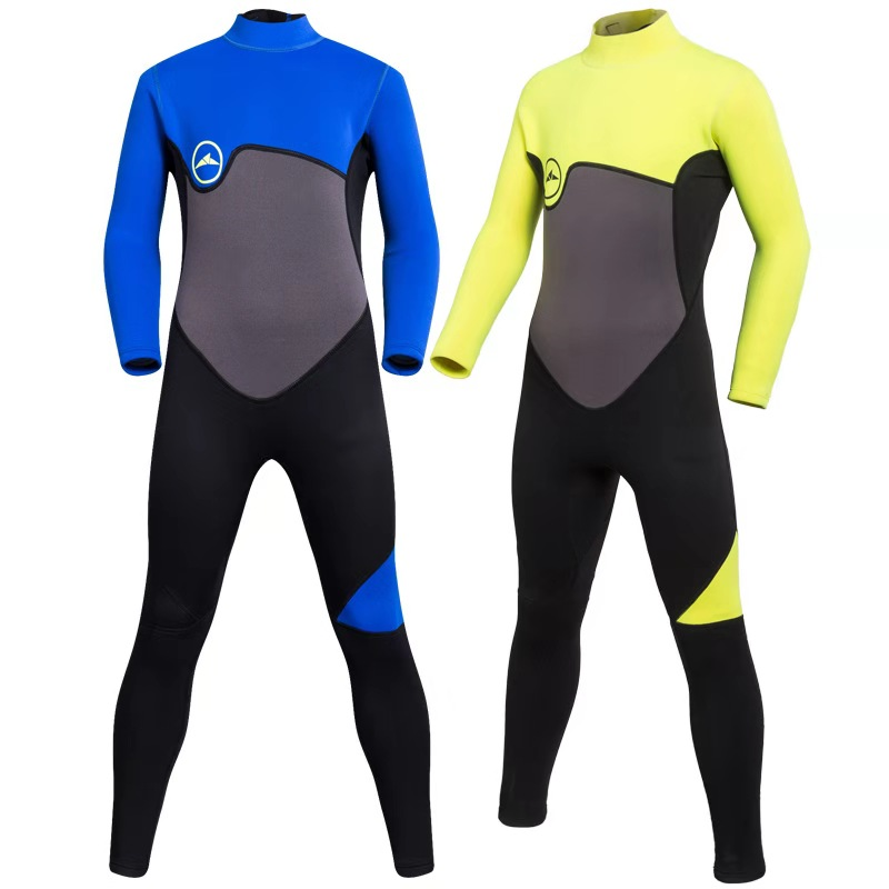 Sbart Children's 2mm Elastic Kids Fullbody Wetsuit Teenage Long Sleeve Wet Suit 8-16Y Sunscreen Long Sleeve Conjoined Swimsuit