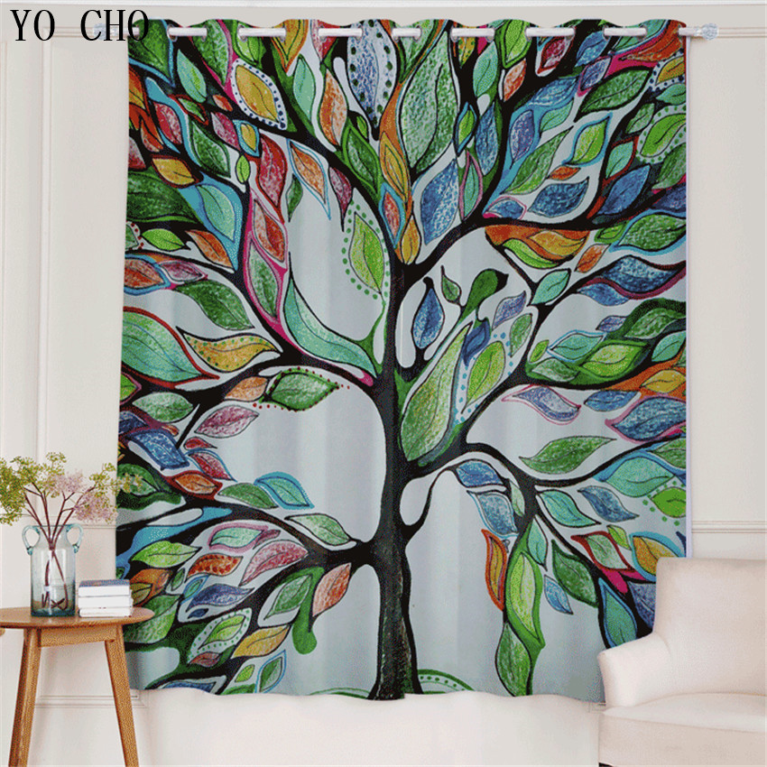 YO CHO Sketch scenery fashion Style tree blackout rideaux curtains ...