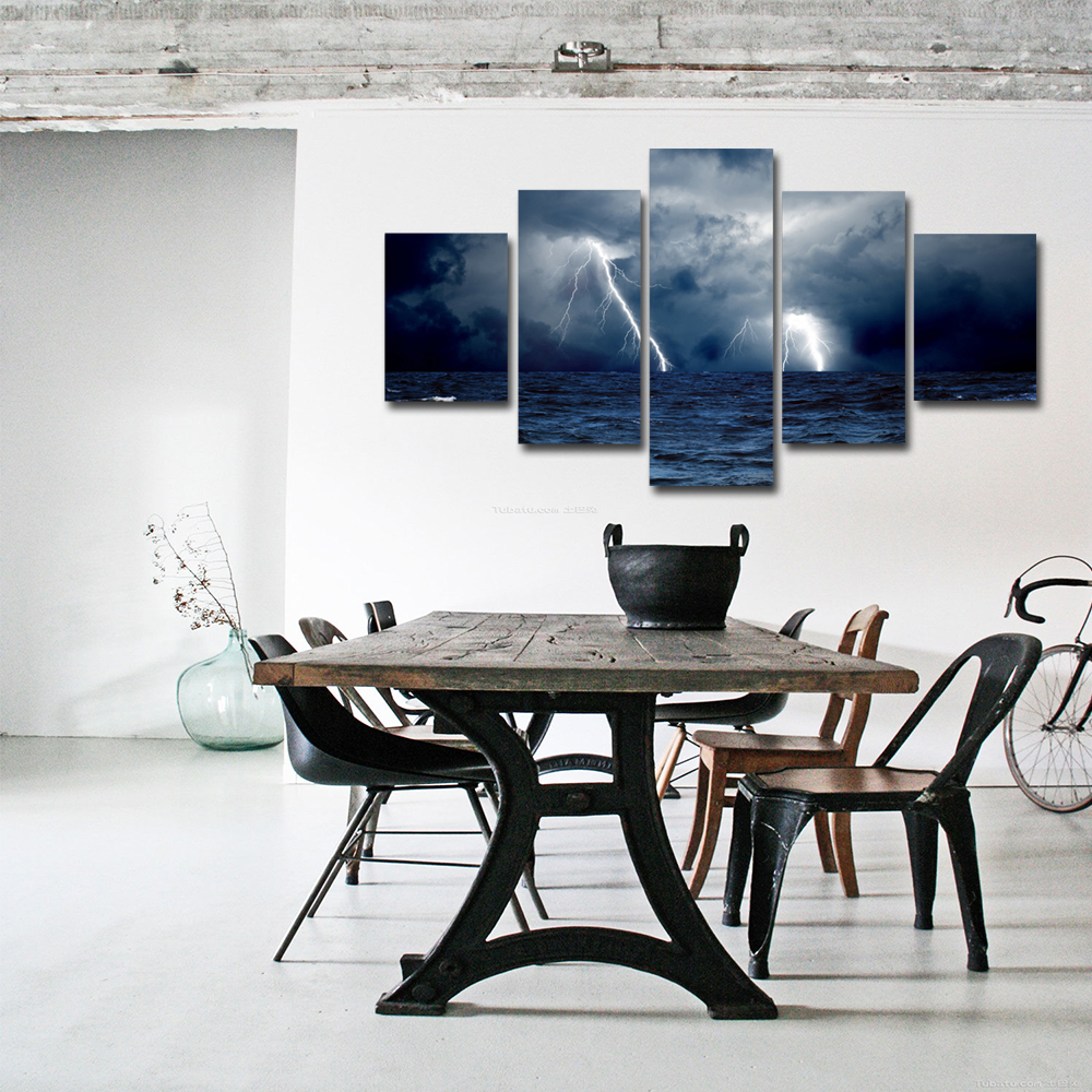 Unframed 5 panel HD Canvas Wall Art Giclee Painting Sea Surface Lightning Landscape For Living Room Home Decor Unframed