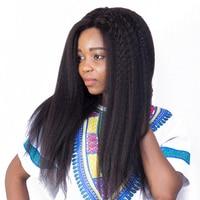 13 х 6 часть кудрявый парик Bazilian Синтетические волосы на кружеве человеческих волос парики для Для женщин натуральный черный Pre сорвал 150% Пло