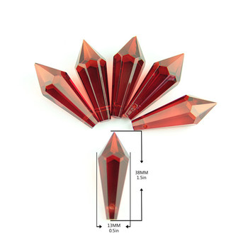 Drop Of Red Chandelier 38mm 100pcs/Lot Crystal Icicle Prism Pendant Crystal U Drop Pendant Suncater Hanging Prism