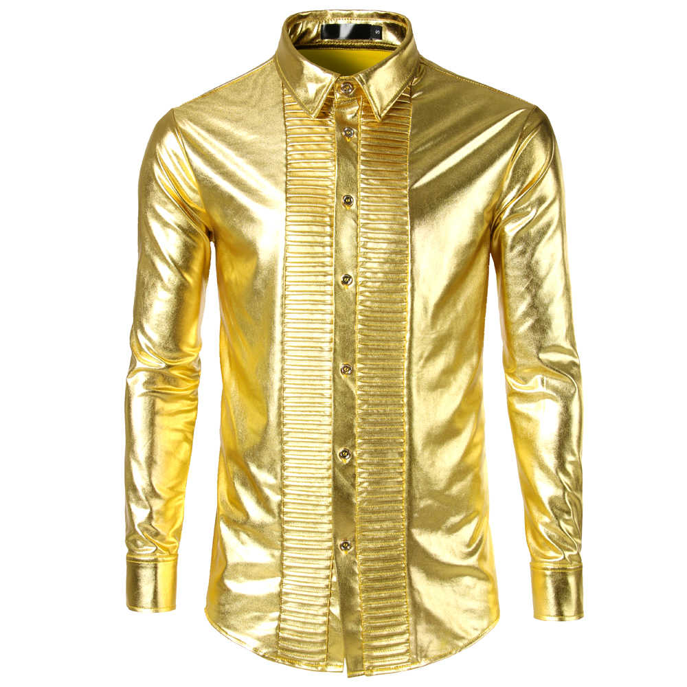 Gold Metallic Men Dress Shirt 2019 Nightclub Stage Show Camisa Masculina Mens Shirts Casual Slim Fit Long Sleeve Palace Tuxedo