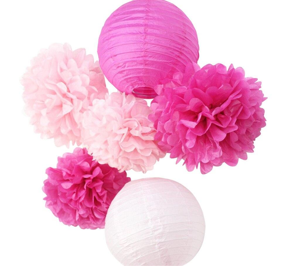 (Pink,Fuchsia)6pcs Honeycomb Paper Decoration Set (Paper Lantern,Pom Pom) for Wedding Bridal Shower Birthday Valentines Decor (1)