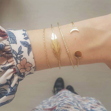 цена Fashion Boho Charm Crystal Bracelets Women Gold Hollow Round Leaves Moon Chain Link Cuff Bracelet Set Female Jewelry Party Gifts онлайн в 2017 году