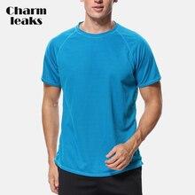 Charmleaks Men Loose Fit Dry-Fit Shirts Rashguard Top Hiking Running Shirt UV-Protection Rash Guard UPF 50+ Beach Wear