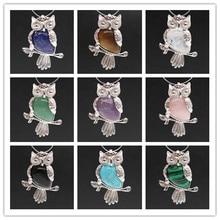 Kraft-beads Ethnic Silver Plated Amethysts Stone Wisdom Owl Pendant Rose Pink Quartz Animal Jewelry