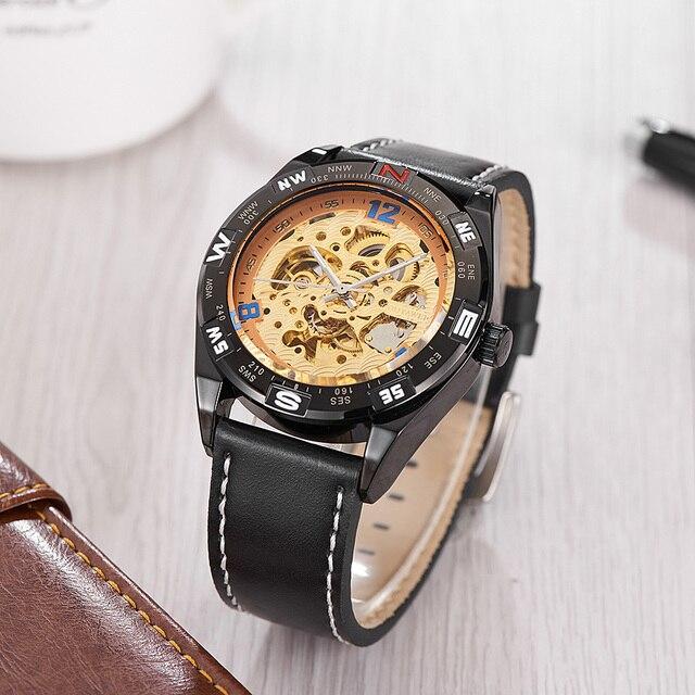 e46bd9400b6 Chegada nova Moda OUYAWEI Mens Watch Relógio Wriswatch Luxo Marca Homens Mecânico  Automático de Esqueleto Relógio