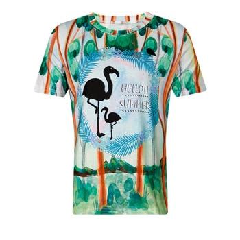 Summer Kawaii 3d Printed T Shirt Girls Student Women Harajuku Short Sleeve Cartoon Flamingos T-Shirts Tee Short Sleeve Top