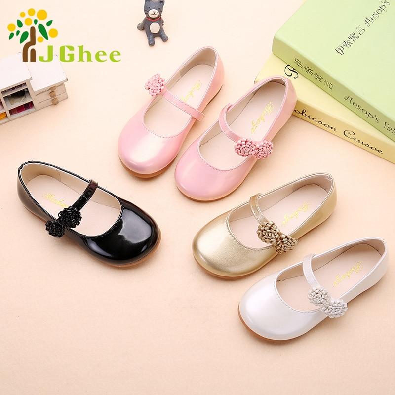 JGSHOWKITO Musim Gugur Gadis Sepatu Putri Anak-anak Sepatu PU Kulit Anak Sepatu Kasual Dengan Bunga Sepatu Acara Pesta Untuk Gadis
