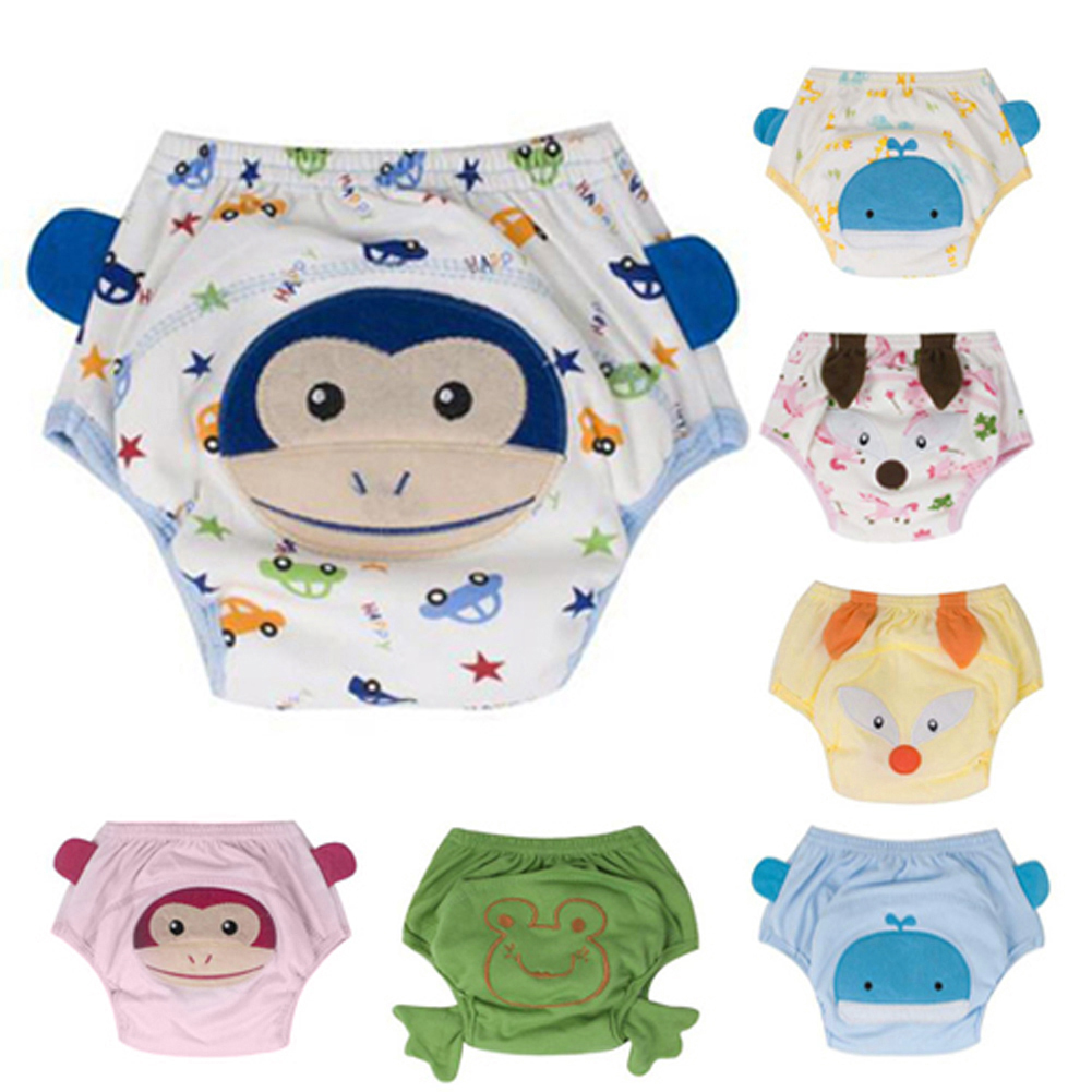 Baby Nappies 4Layers Baby Training Pants Washable Reusable Cartoon Animals Baby Diapers Infants Nappies for 0 to 36 Months