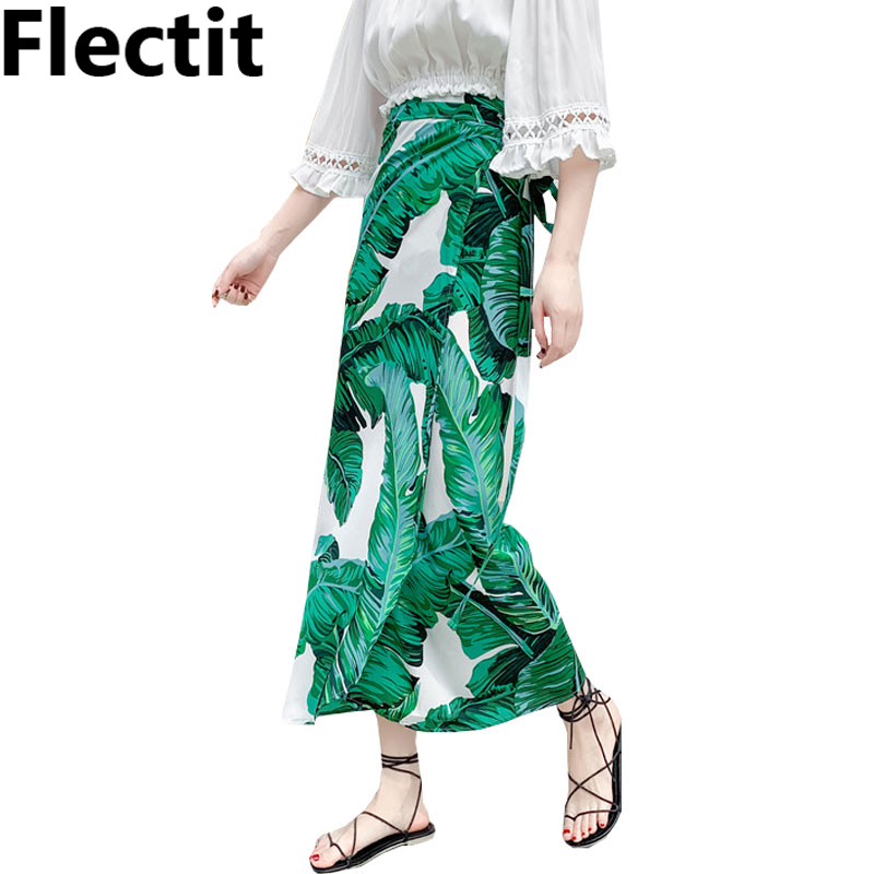 Ferns Tropical Palm Print Skirt Summer Chiffon Split Long Skirt With Ties Women Beach Skirt Sarong Saia Feminina *