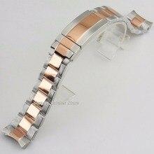 """20 מ""""מ מוצק רוז זהב 316L נירוסטה צמיד שעונים שעון רצועת השעון צמיד ערכת 40 מ""""מ"""
